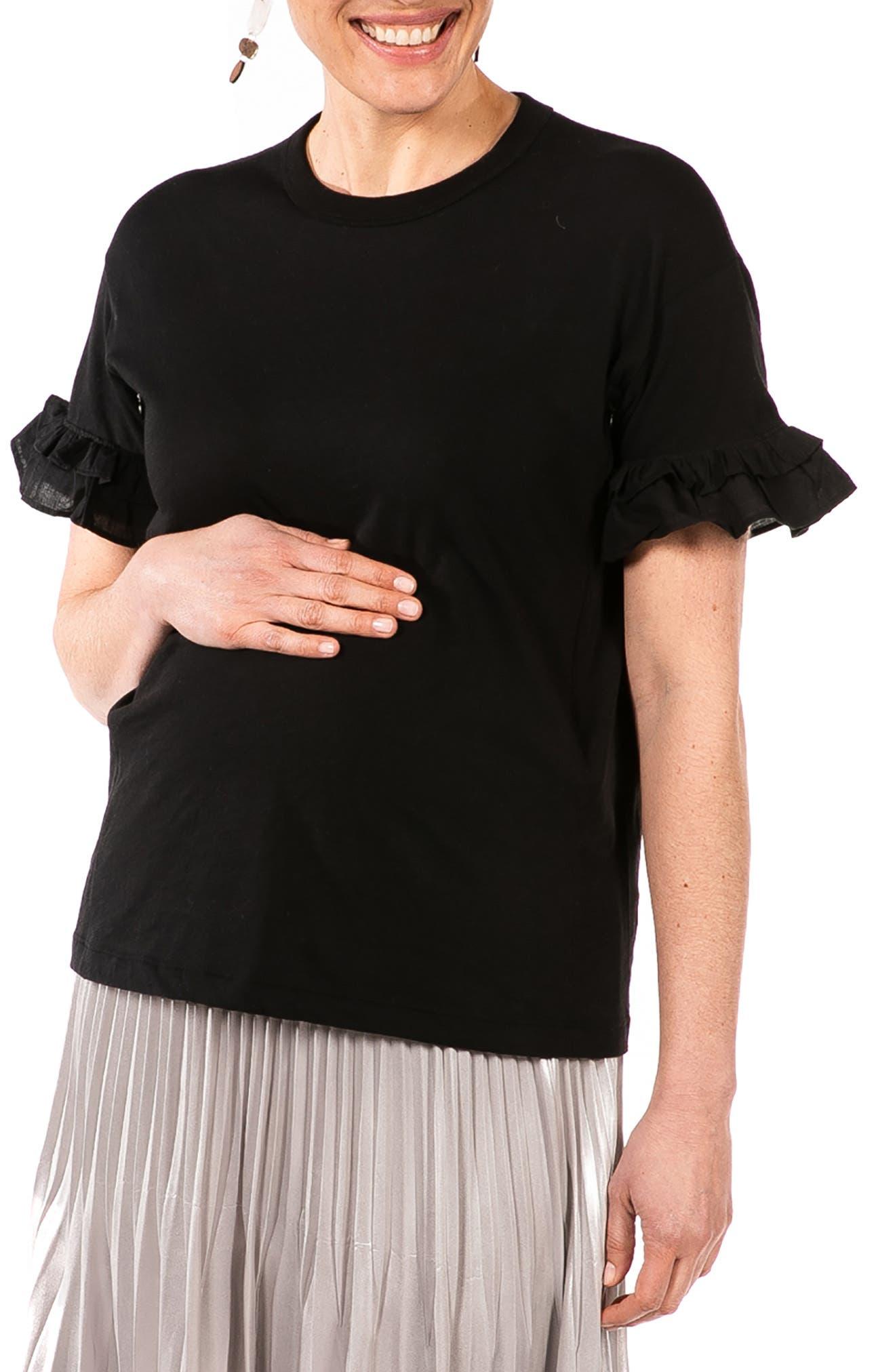 Joey Ruffle Sleeve Maternity/nursing T-Shirt