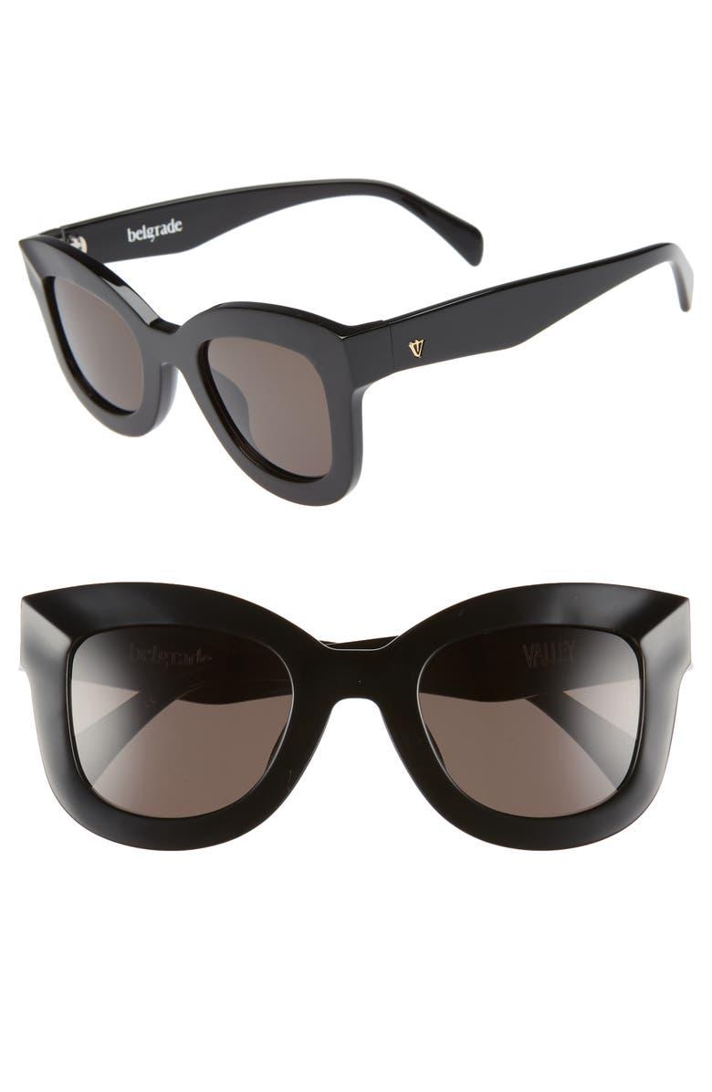 VALLEY Belgrade 48mm Cat Eye Sunglasses, Main, color, GLOSS BLACK