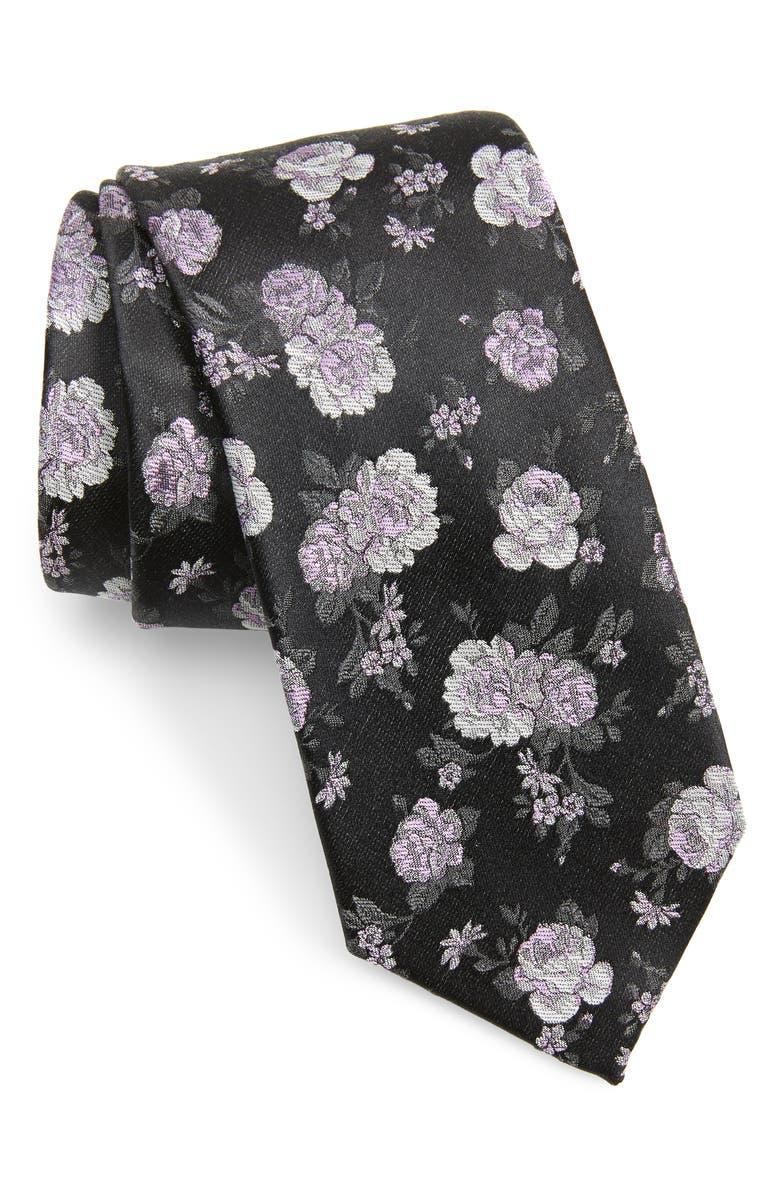 NORDSTROM MEN'S SHOP Begley Floral Cotton & Silk Tie, Main, color, BLACK