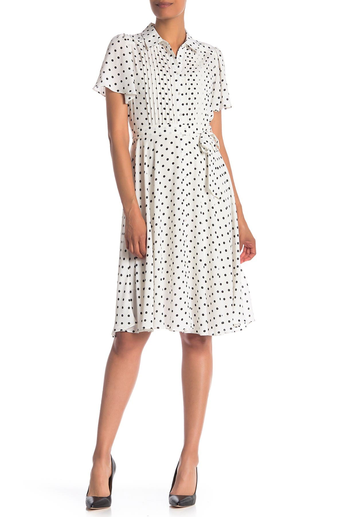 1940s Dress Styles NANETTE nanette lepore Polka Dot Flutter Sleeve Pintuck Dress Size 12 - Cancrevbk at Nordstrom Rack $39.97 AT vintagedancer.com