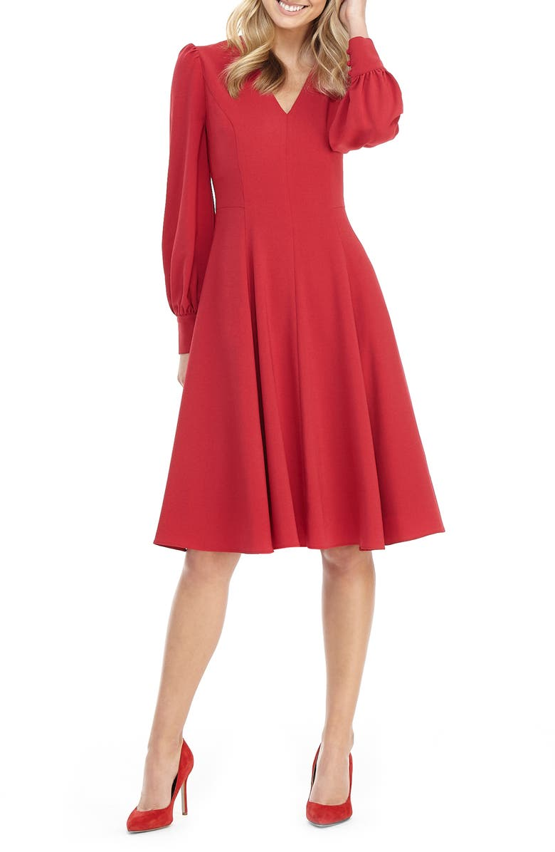 GAL MEETS GLAM COLLECTION Layla Long Sleeve Fit & Flare Dress, Main, color, CRANBERRY