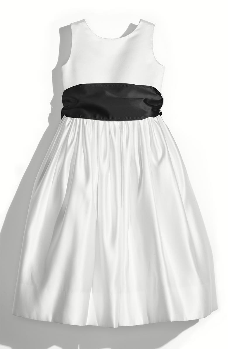 US ANGELS White Tank Dress with Satin Sash, Main, color, WHITE/ BLACK