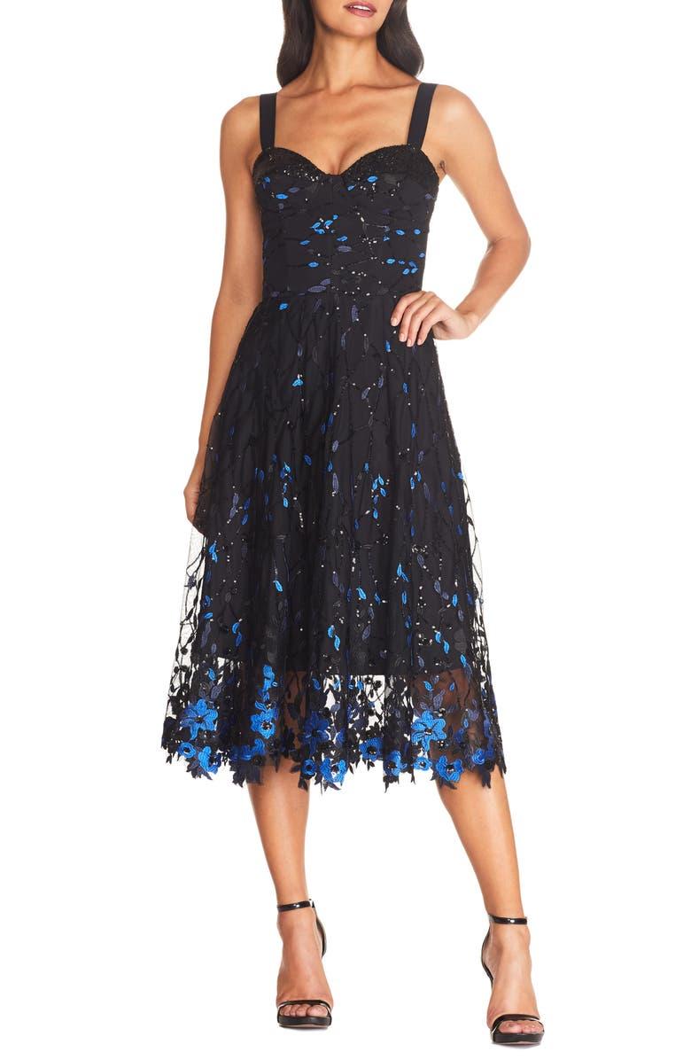 DRESS THE POPULATION Corina Floral Embellished Fit & Flare Cocktail Dress, Main, color, BLACK-ELECTRIC BLUE