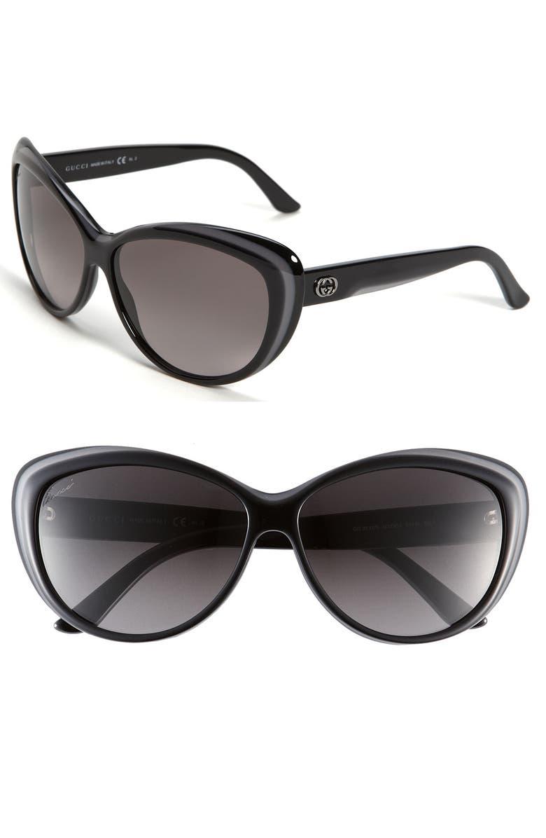 GUCCI 61mm Retro Sunglasses, Main, color, 020