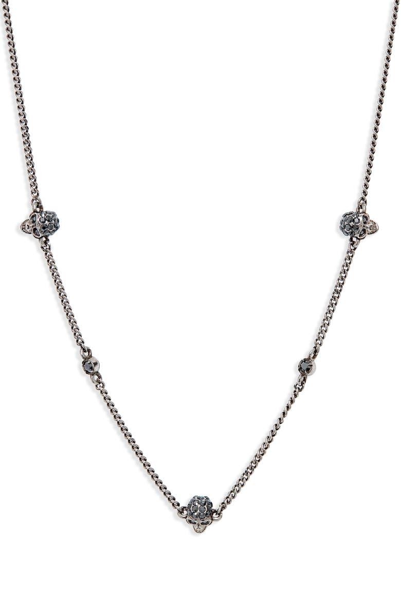 ALEXANDER MCQUEEN Skull Short Necklace, Main, color, HEMATITE