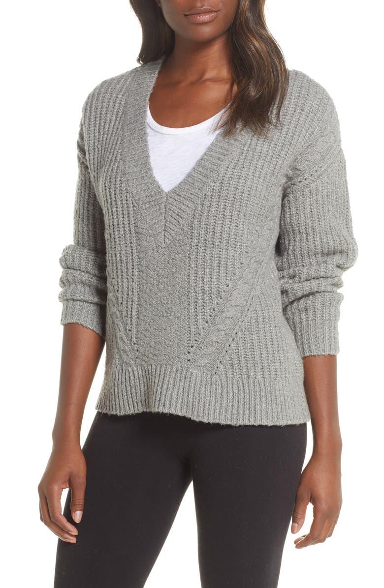 UGG<SUP>®</SUP> Alva Deep V-Neck Sweater, Main, color, GRHE