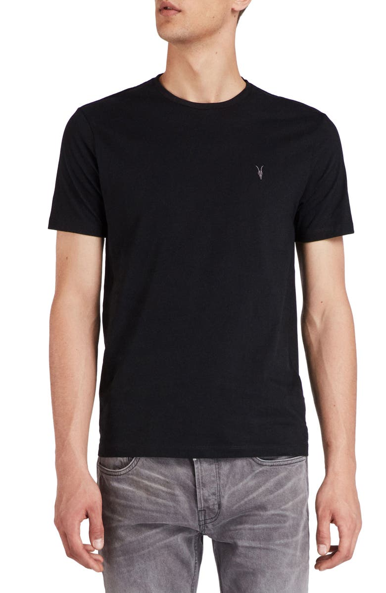ALLSAINTS Brace Tonic Slim Fit Crewneck T-Shirt, Main, color, JET BLACK