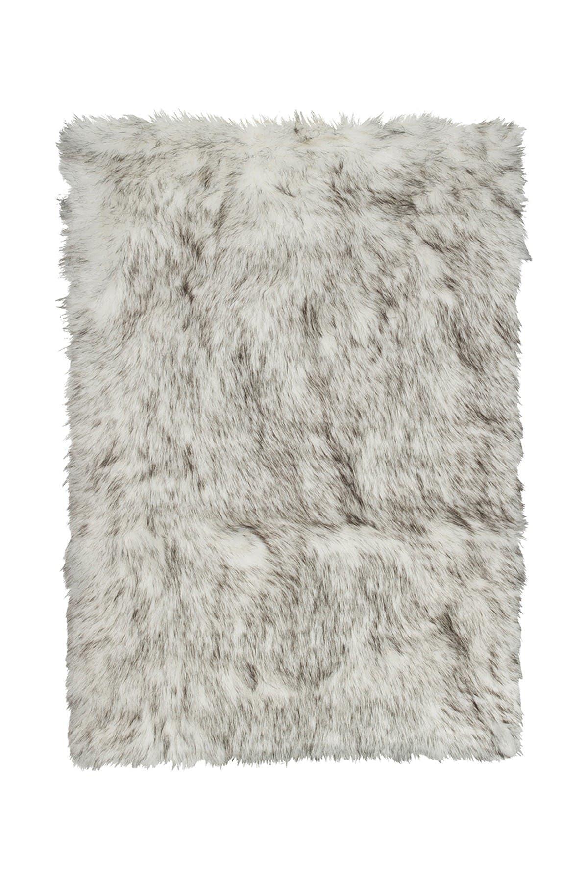Image of LUXE Faux Fur Hudson Rectangular Rug - 2ft x 3ft - Gradient Grey