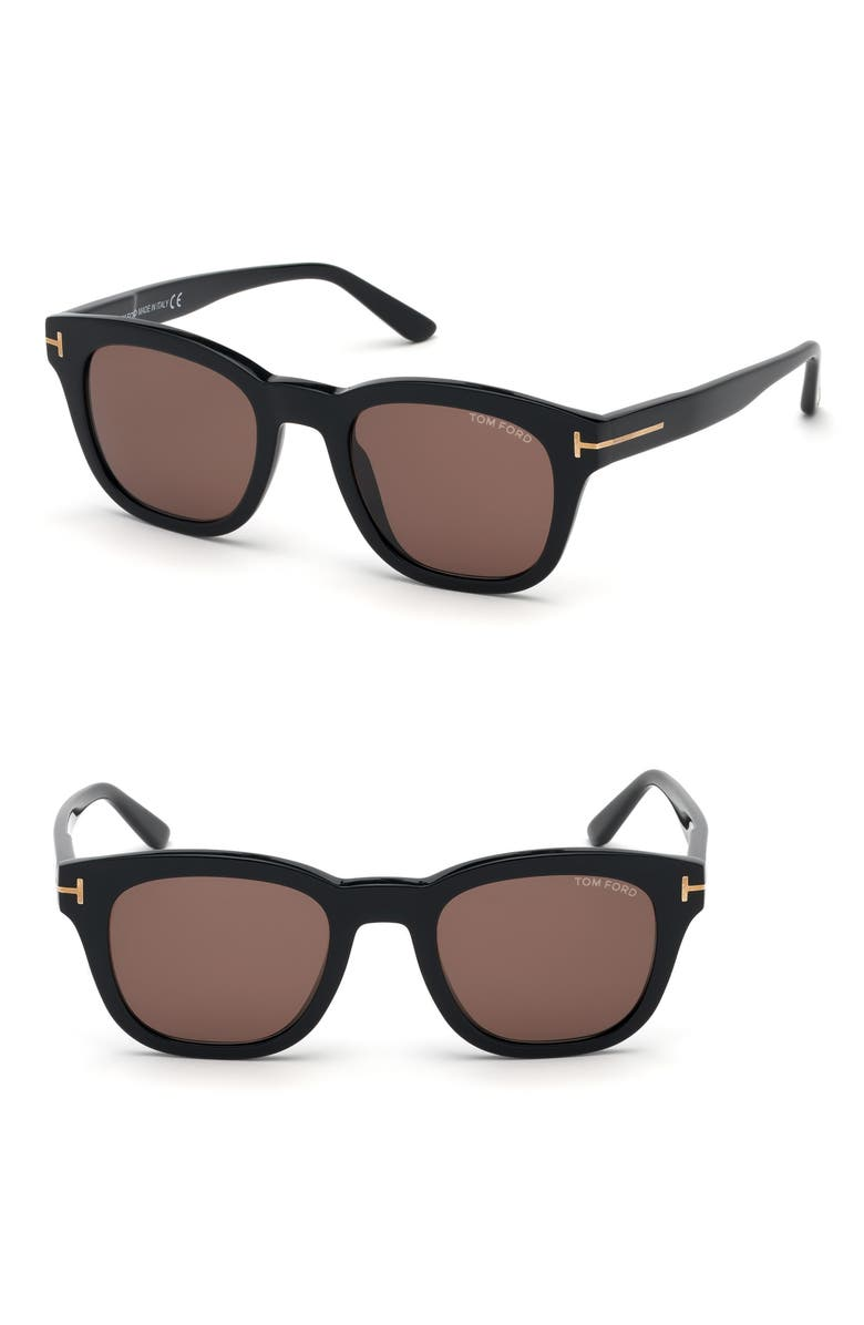 TOM FORD Eugenio 52mm Sunglasses, Main, color, SHINY BLACK/ BROWN