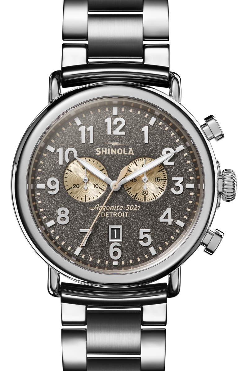 SHINOLA 'The Runwell Chrono' Bracelet Watch, 47mm, Main, color, SILVER/ GREY/ CREAM/ SILVER