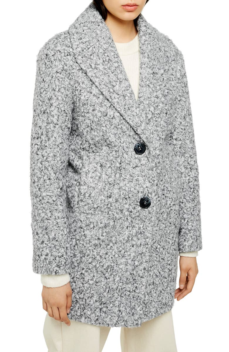 TOPSHOP Odette Bouclé Knit Coat, Main, color, 020