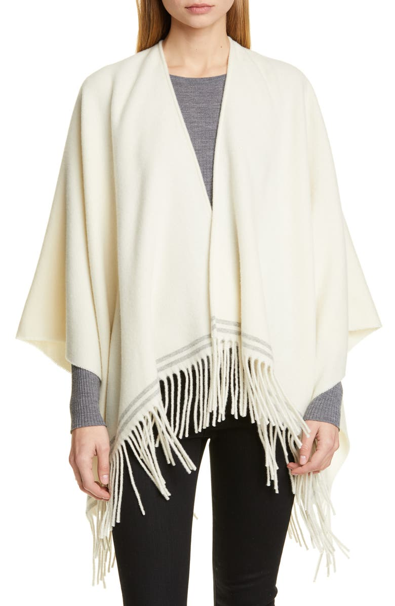 RAG & BONE Fringe Wool Ruana, Main, color, IVORYMULT