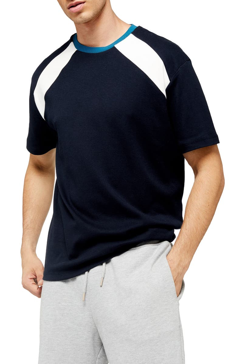 TOPMAN Ethan Classic Fit T-Shirt, Main, color, NAVY MULTI