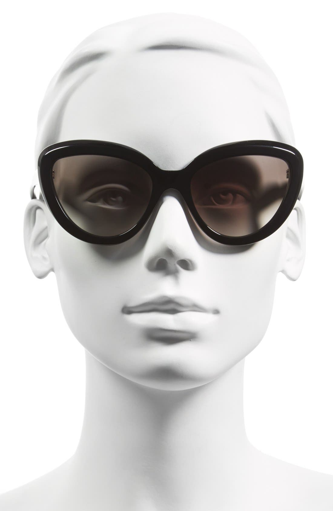 ,                             57mm Cat Eye Sunglasses,                             Alternate thumbnail 2, color,                             001