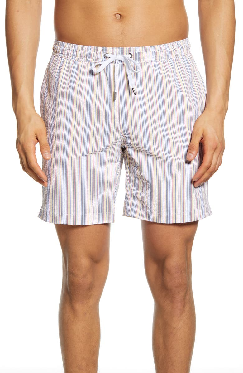 ONIA Charles Stripe Swim Trunks, Main, color, MULTI