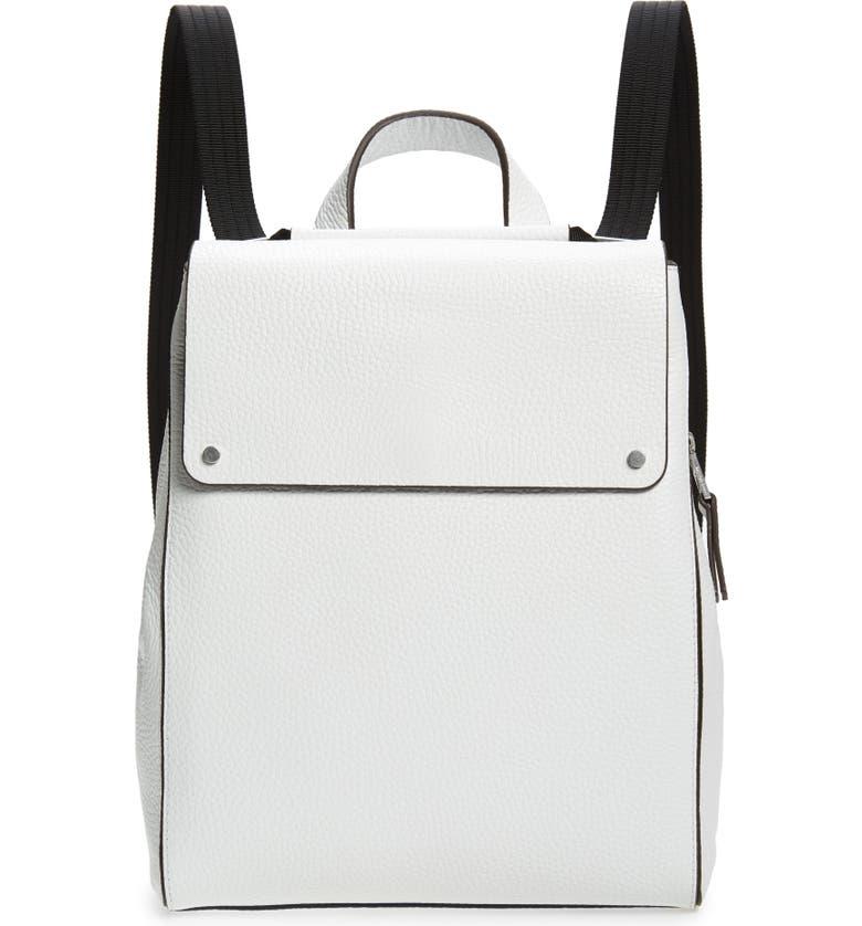 TREASURE & BOND Amari Pebbled Leather Backpack, Main, color, WHITE