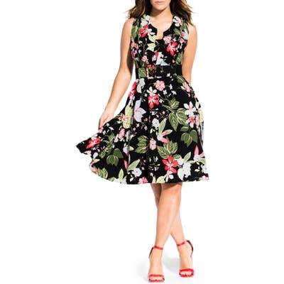 Plus Size City Chic Floral Print Fit & Flare Dress, Black