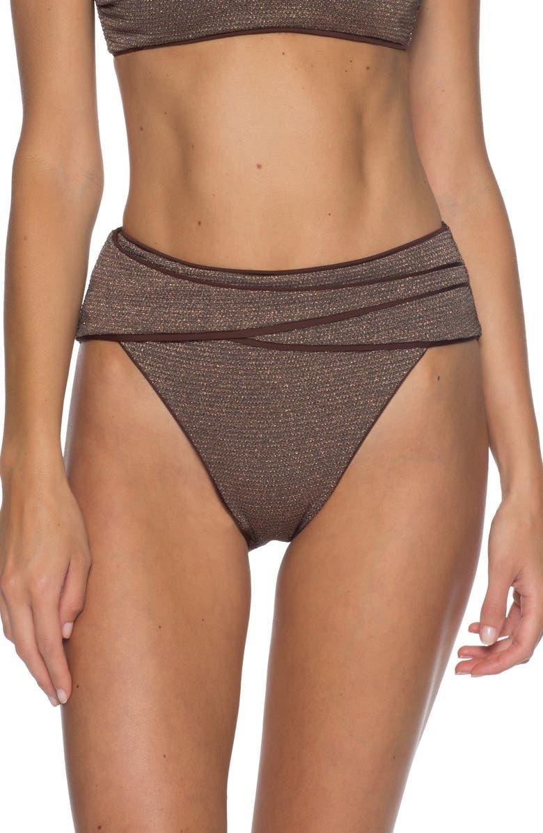 BECCA Disco High Waist Bikini Bottoms, Main, color, BRONZE