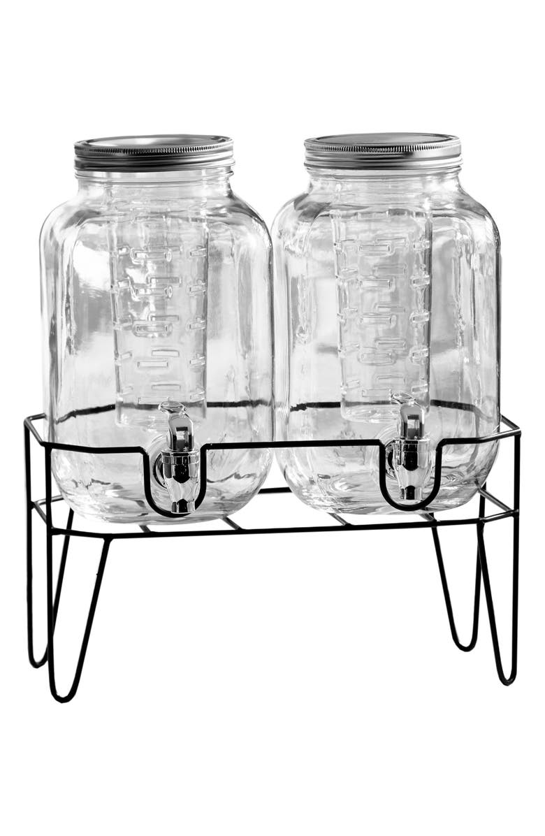 AMERICAN ATELIER Clifford Set of 2 Infuser Beverage Dispensers with Stand, Main, color, CLEAR