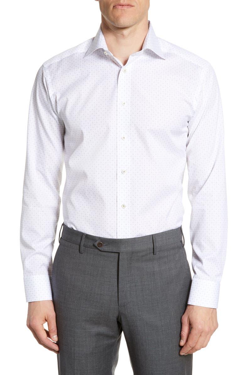ETON Slim Fit Pattern Dress Shirt, Main, color, 100