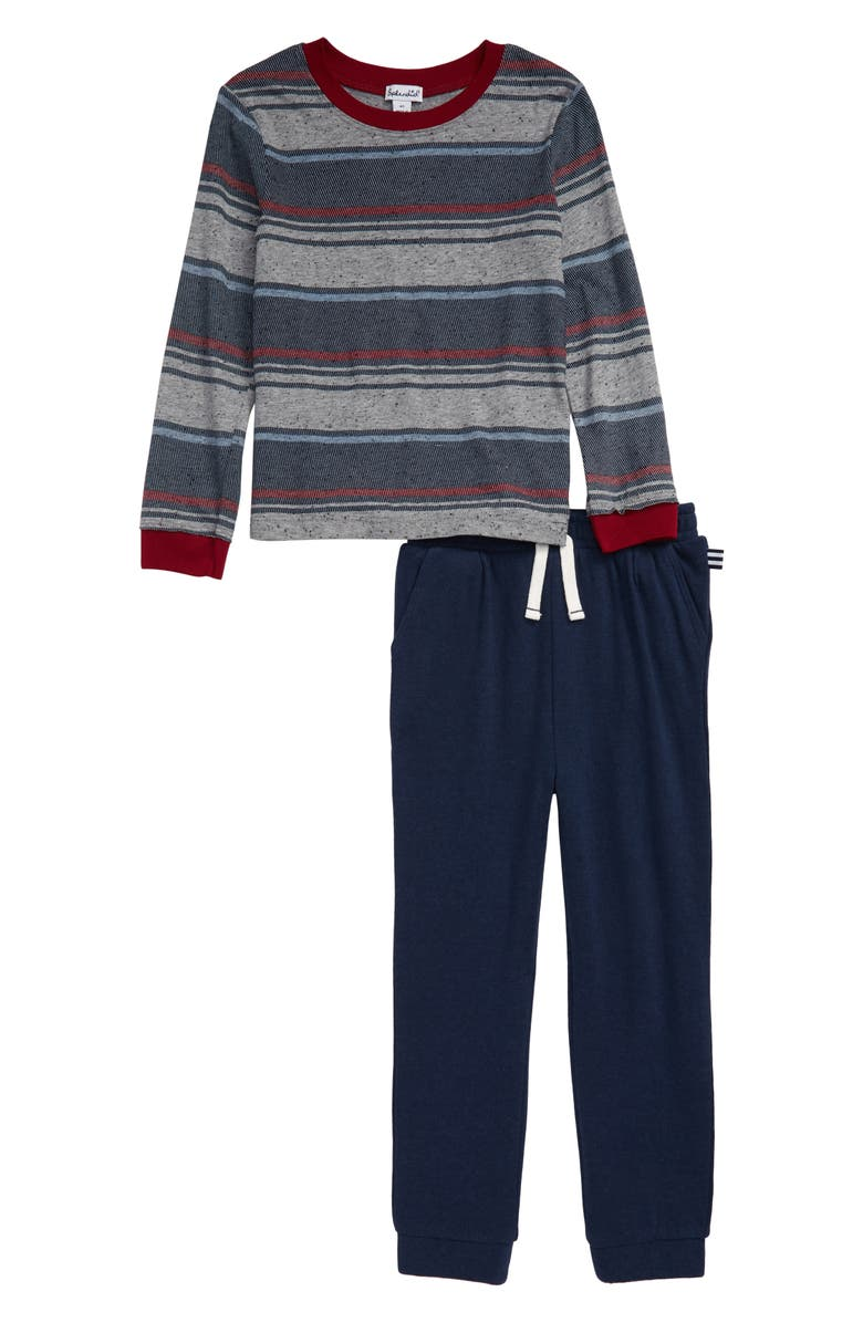 SPLENDID Baydre Stripe Top & Sweatpants Set, Main, color, PHANTOM INK