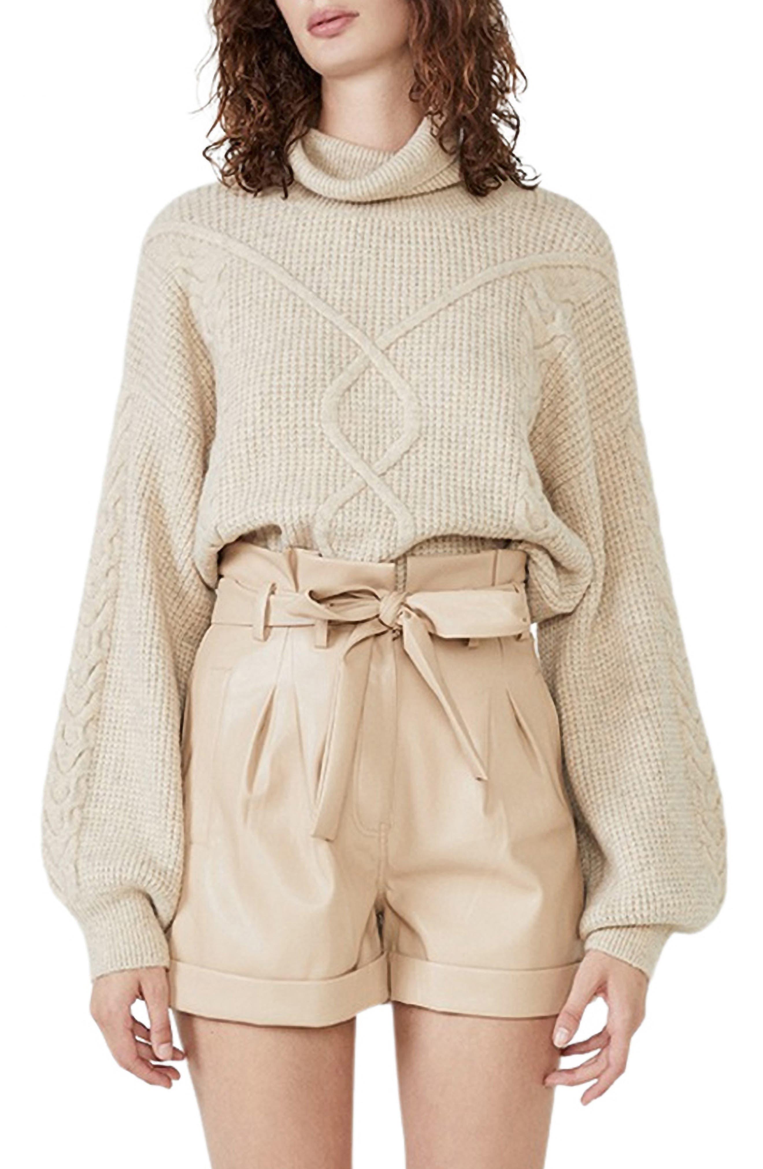 Maya Cable Detail Turtleneck Sweater