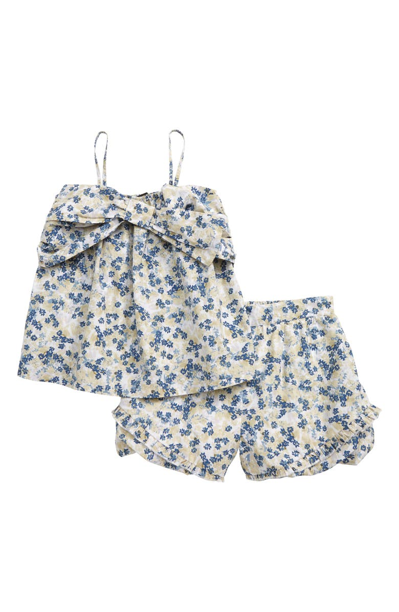 SOMETHING NAVY Cold Shoulder Top & Shorts Set, Main, color, WHITE DITSY FLORAL SPRAY