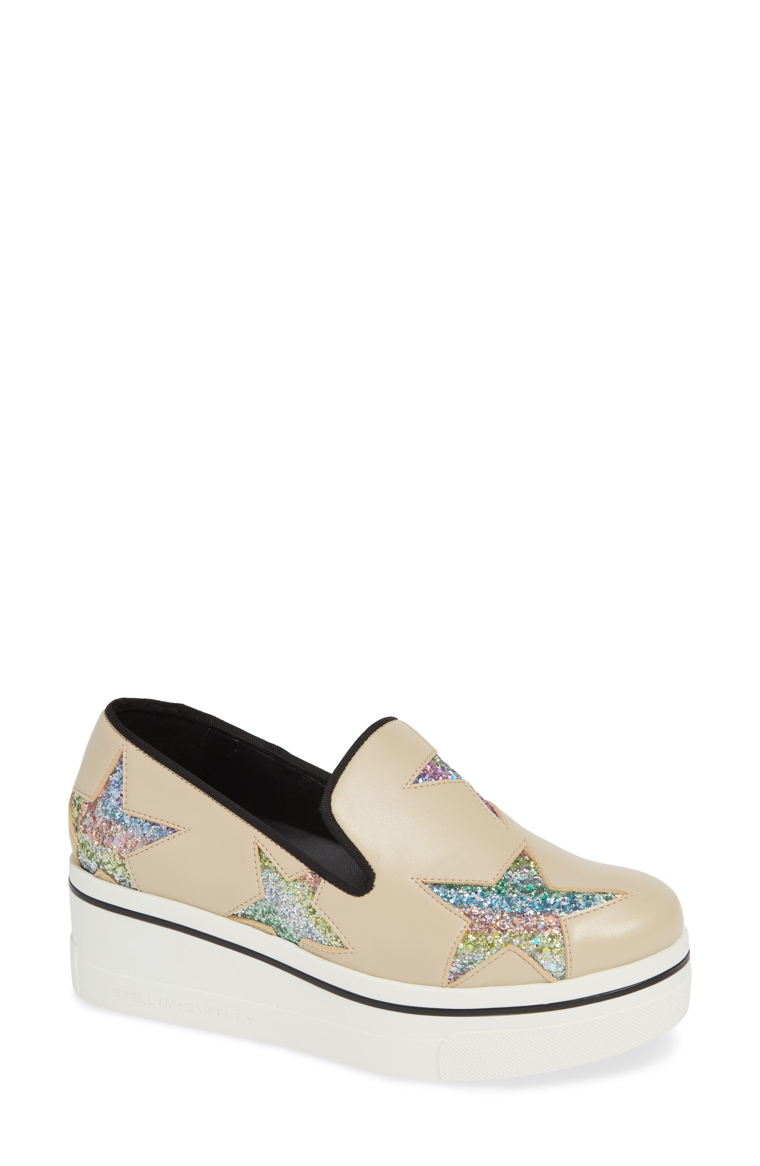 Stella Mccartney Binx Stars Slip-On Platform Sneaker, Beige