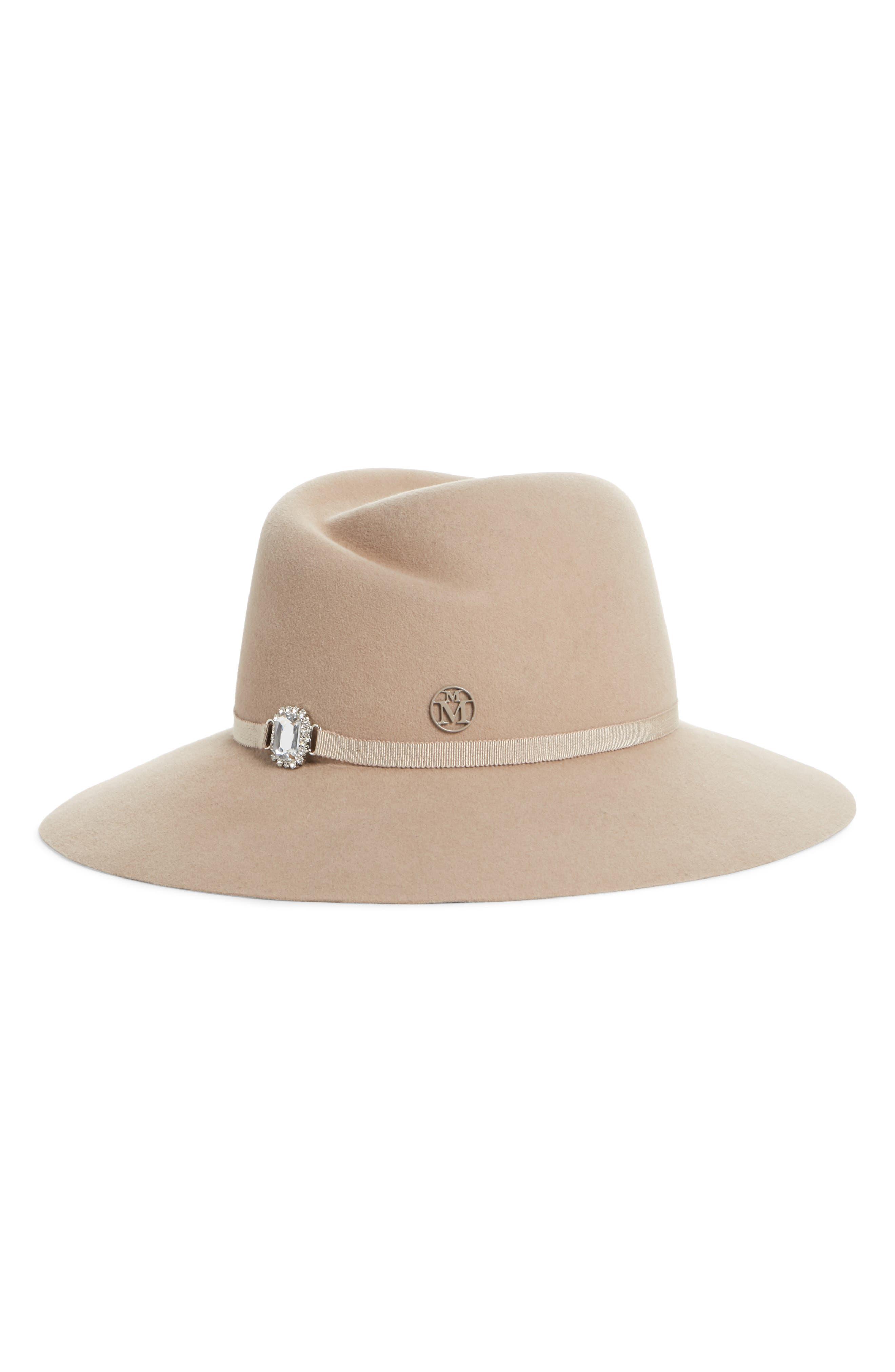 Virginie Strass Rabbit Hair Felt Hat, Main, color, GREIGE