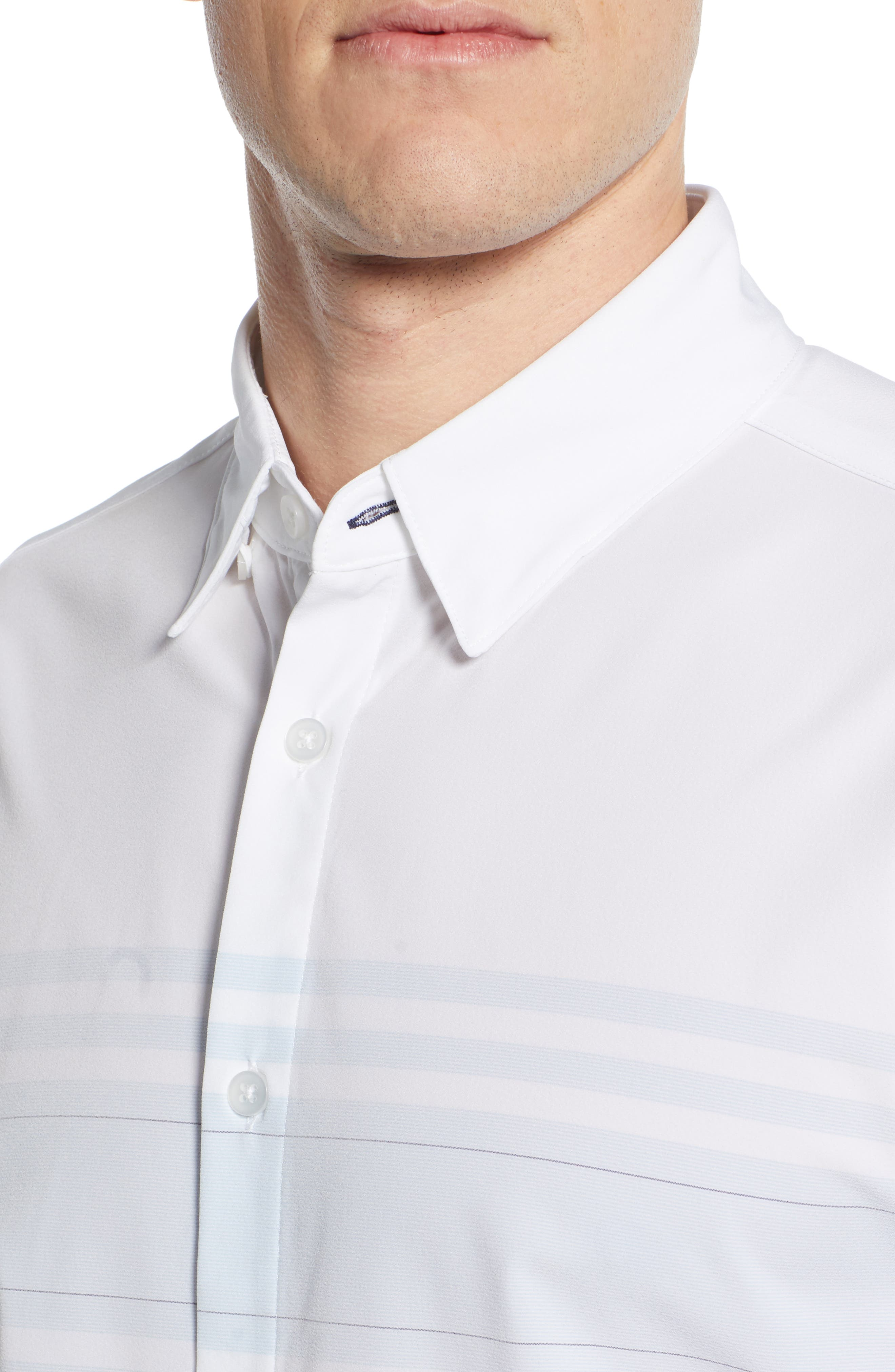 ,                             Weiss Trim Fit Stripe Sport Shirt,                             Alternate thumbnail 2, color,                             WHITE