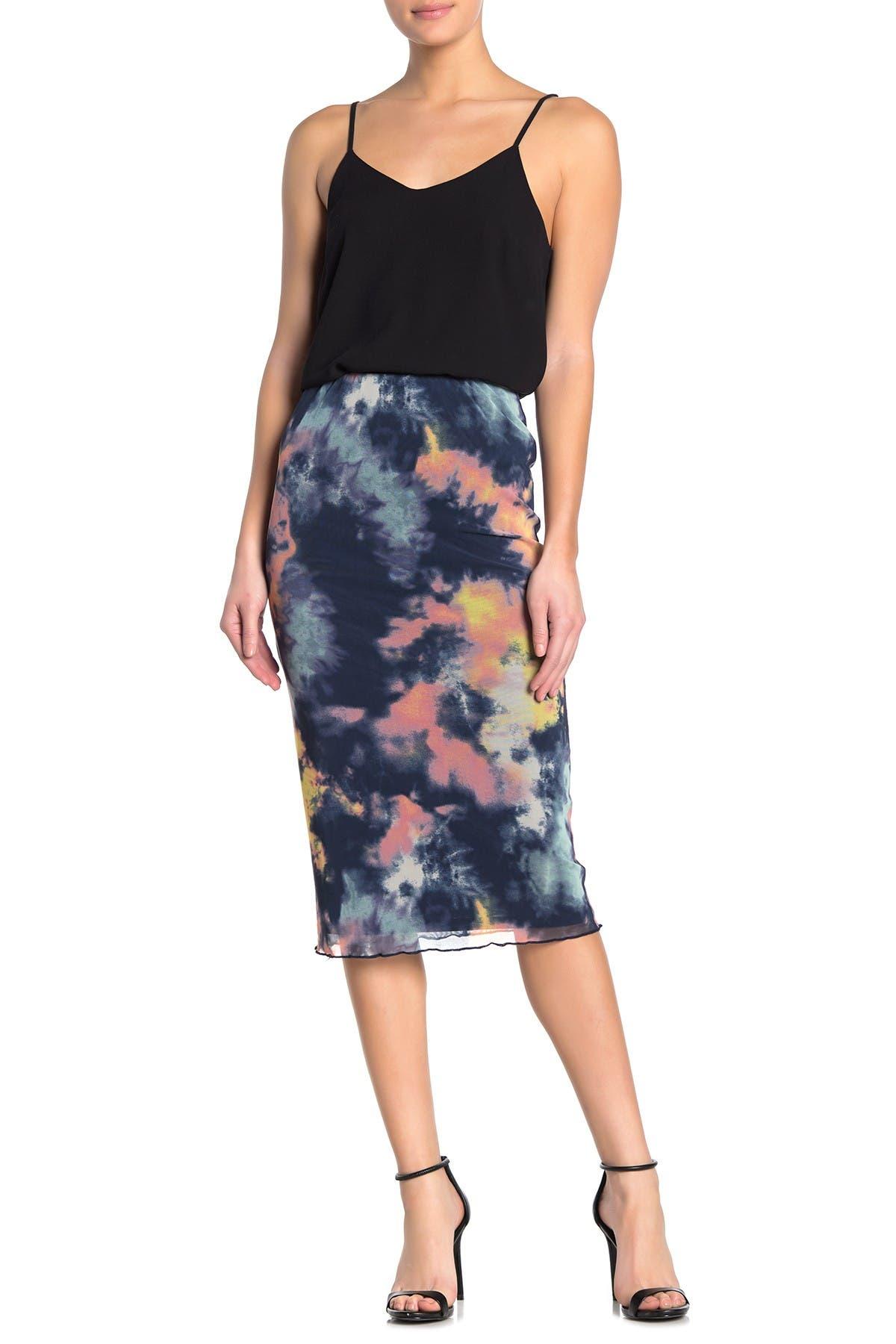 Image of Love, Fire Tie-Dye Mesh Pull-On Midi Skirt