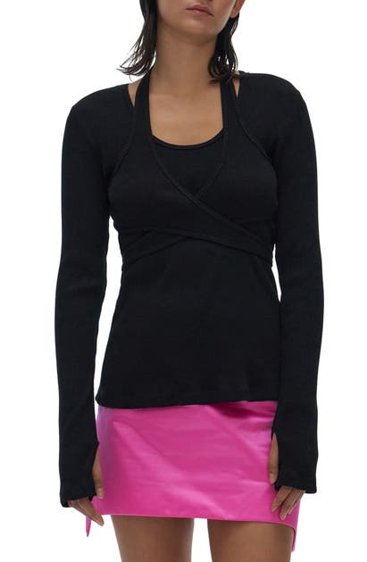 Helmut Lang LONG SLEEVE WRAP TOP