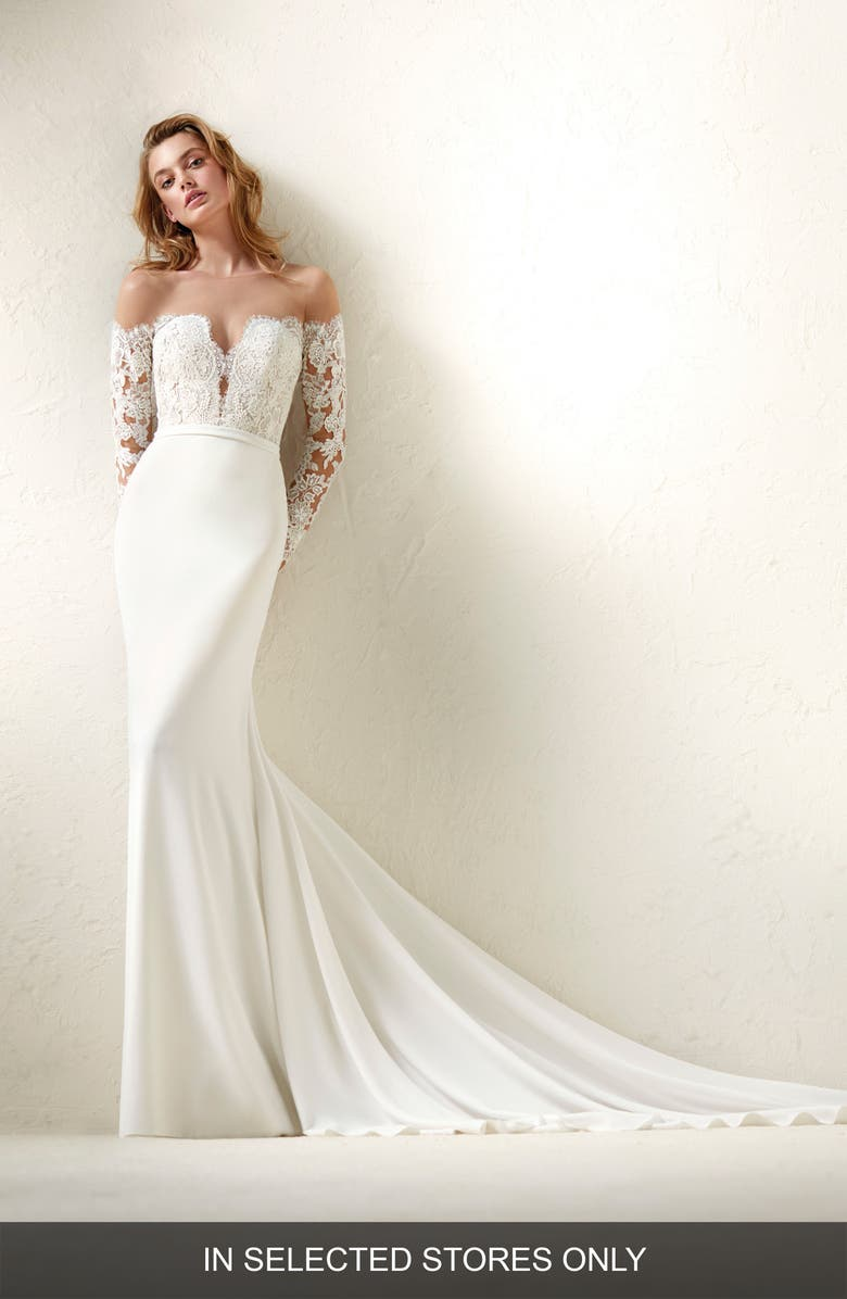 PRONOVIAS Dracma Illusion Bodice Crepe & Tulle Mermaid Gown, Main, color, OFF WHITE/NUDE