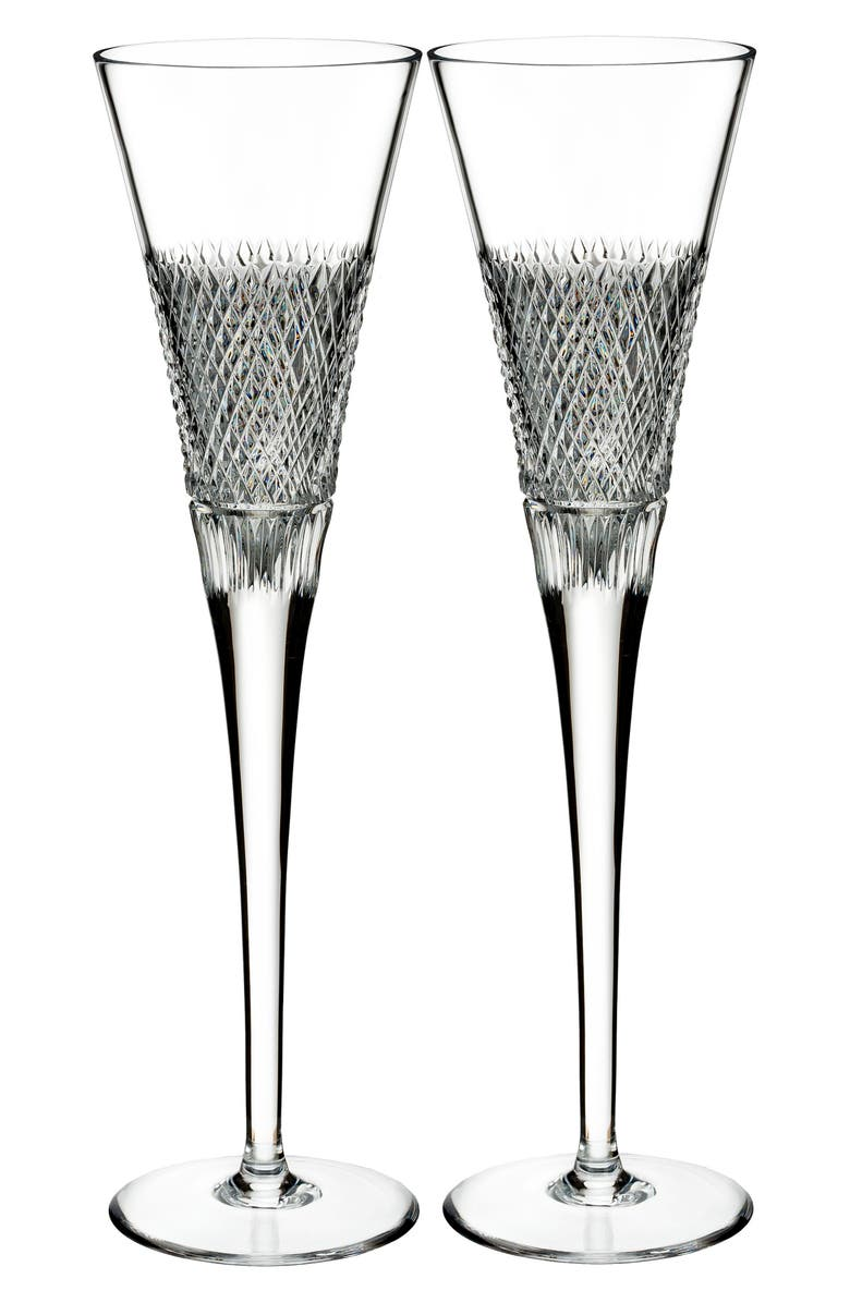 WATERFORD Diamond Line Set of 2 Leaded Crystal Champagne Flutes, Main, color, 100