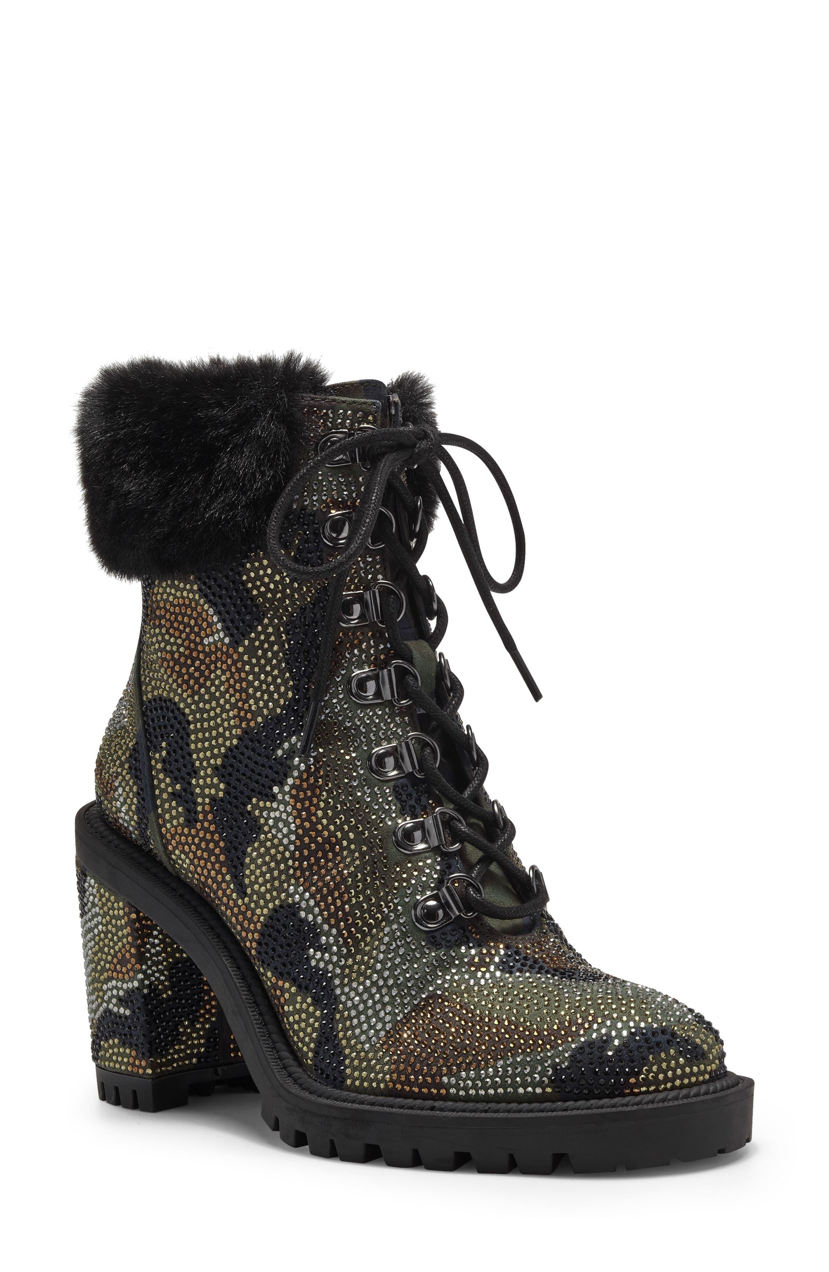 Deliah Studded Block Heel Bootie With Faux Fur Trim