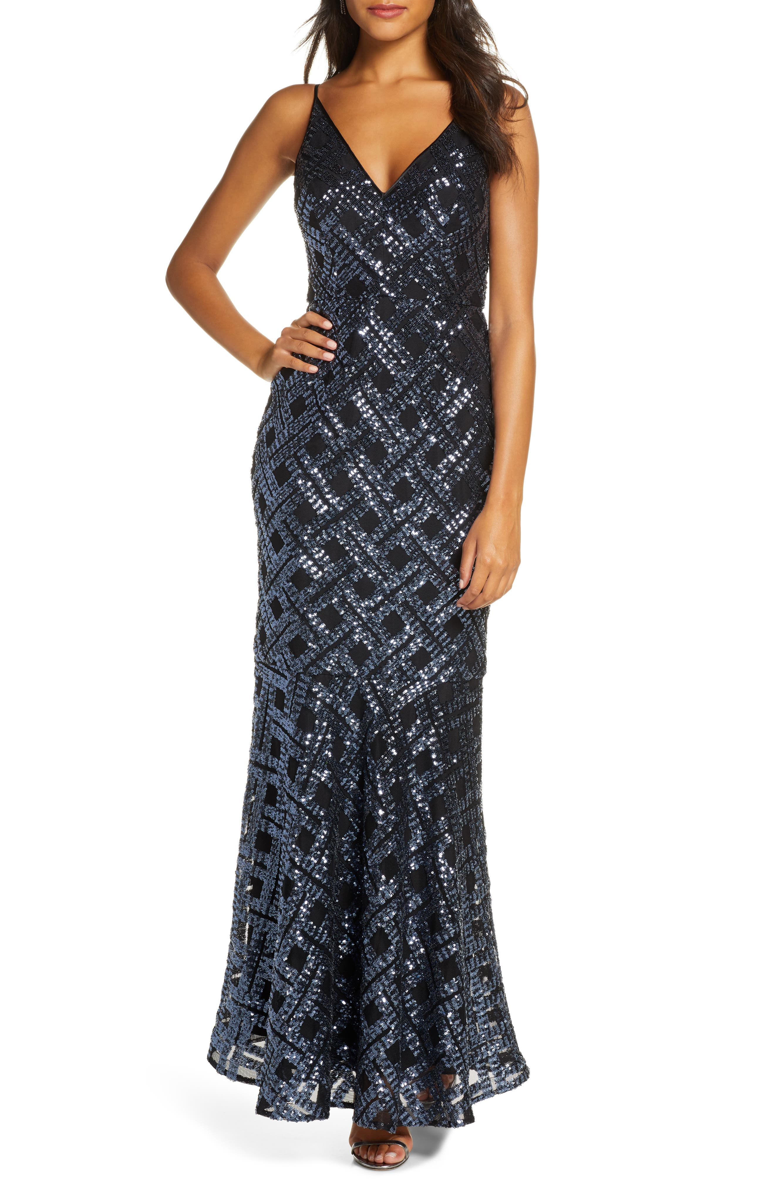 1930s Evening Dresses | Old Hollywood Dress Womens Eliza J Sequin Sleeveless Trumpet Gown $228.00 AT vintagedancer.com