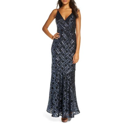 Eliza J Sequin Sleeveless Trumpet Gown, Blue