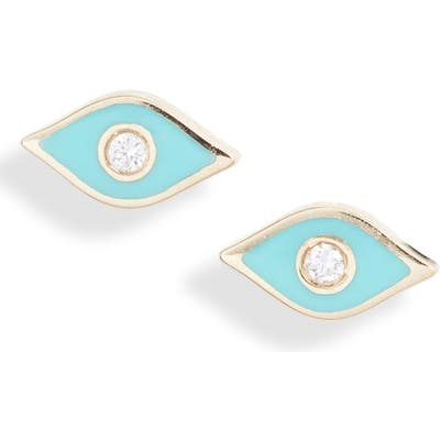 Ef Collection Diamond Evil Eye Stud Earrings