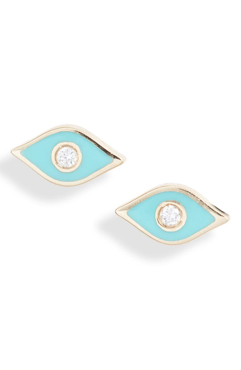 EF COLLECTION Diamond Evil Eye Stud Earrings, Main, color, YELLOW GOLD/ TURQUOISE