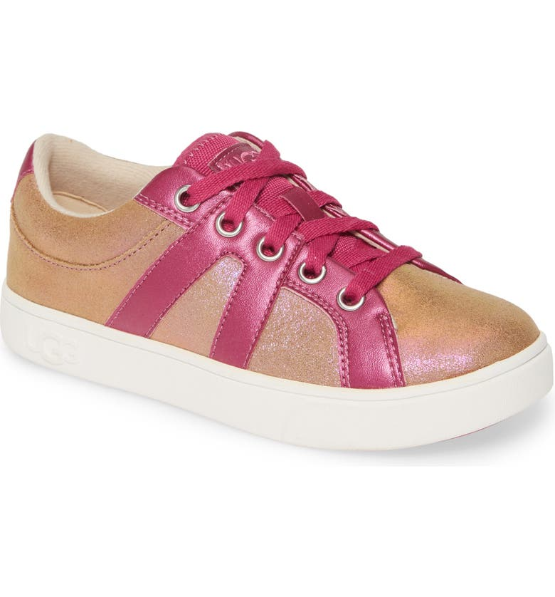 UGG<SUP>®</SUP> Marcus Shimmer Sneaker, Main, color, CHESTNUT / FUCHSIA