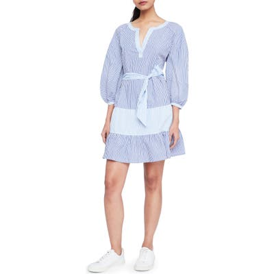 Parker Jenna Mixed Stripe Cotton Dress, Blue