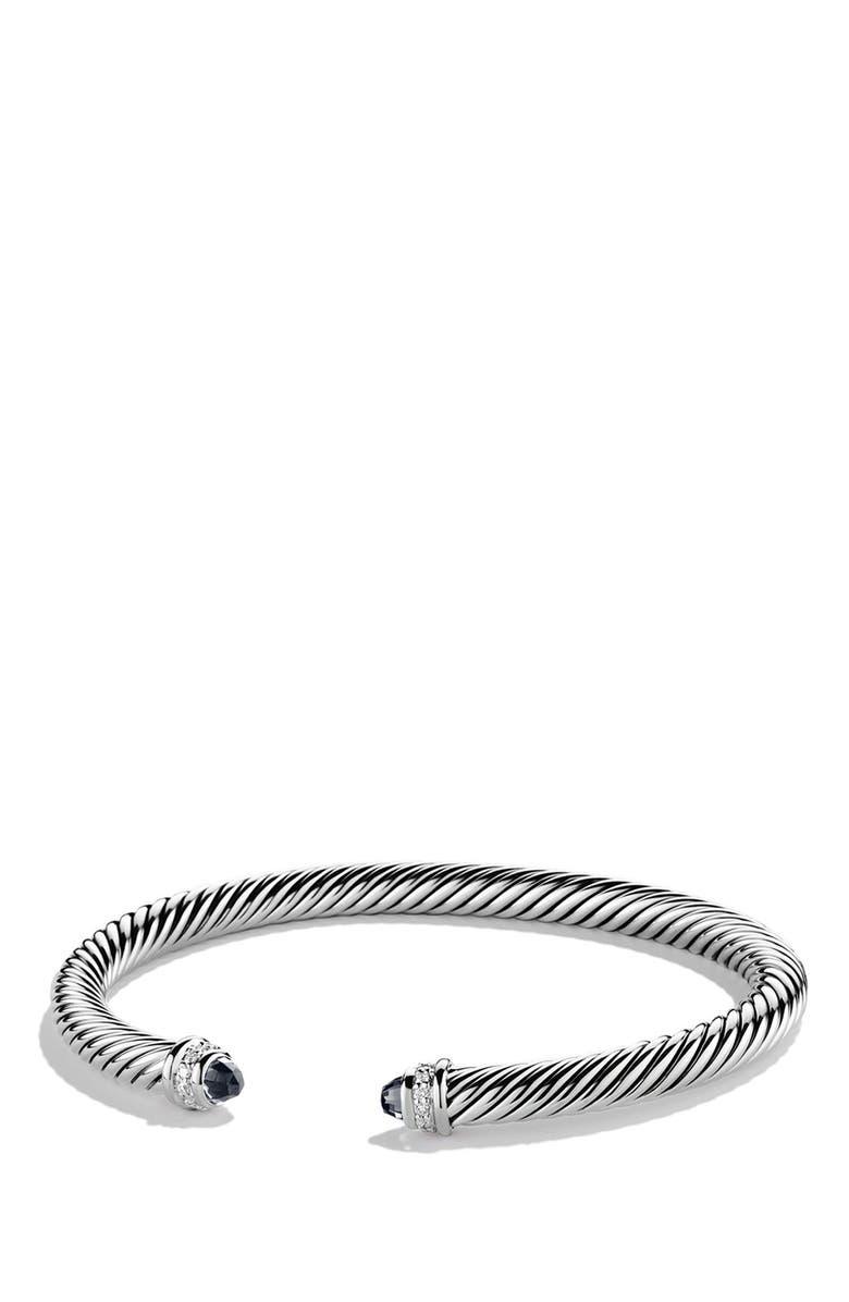 DAVID YURMAN Cable Classics Bracelet with Semiprecious Stones & Diamonds, Main, color, BLACK ONYX