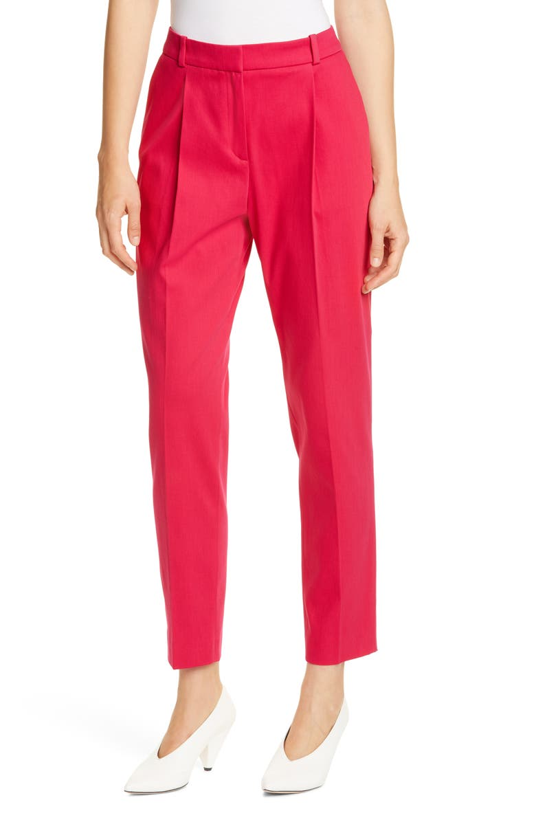 HUGO Harita Stretch Cotton Ankle Trousers, Main, color, CERISE