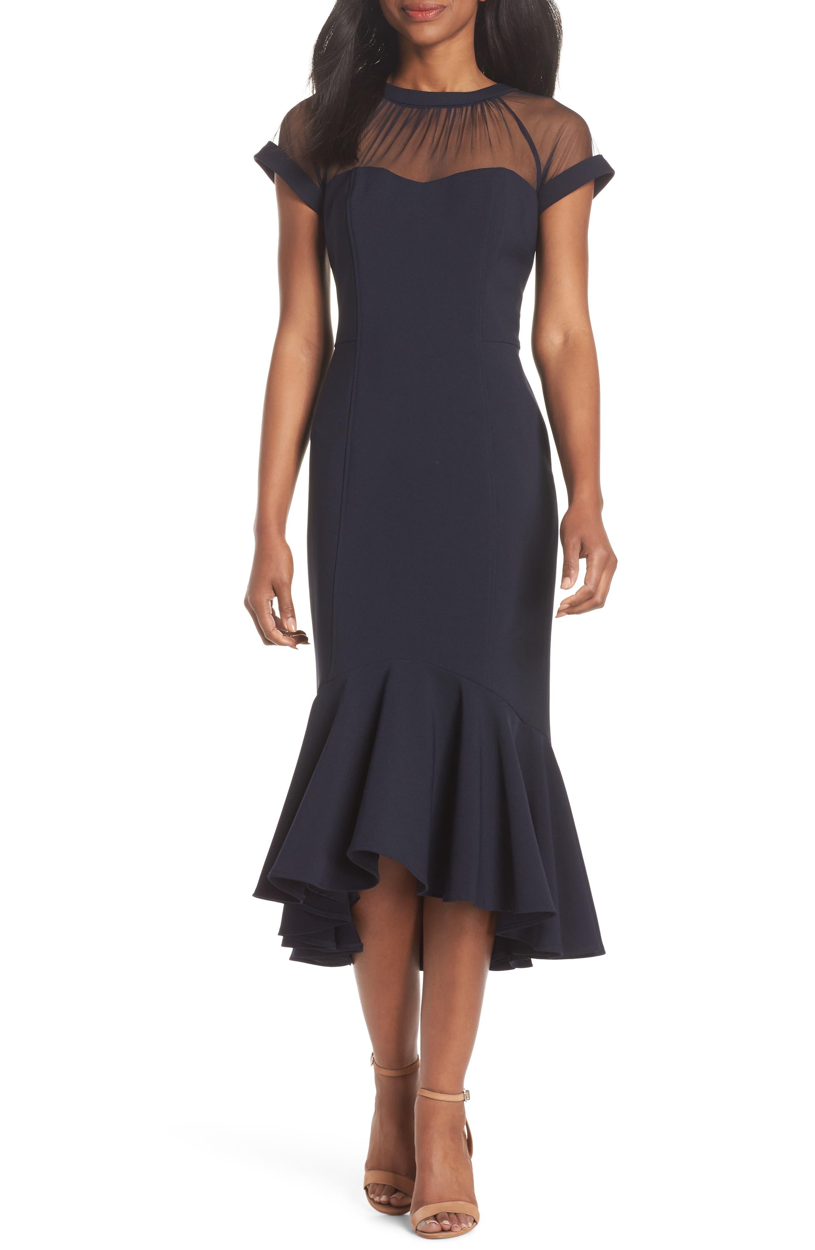 women's maggy london illusion neck crepe midi dress, size 8 - blue