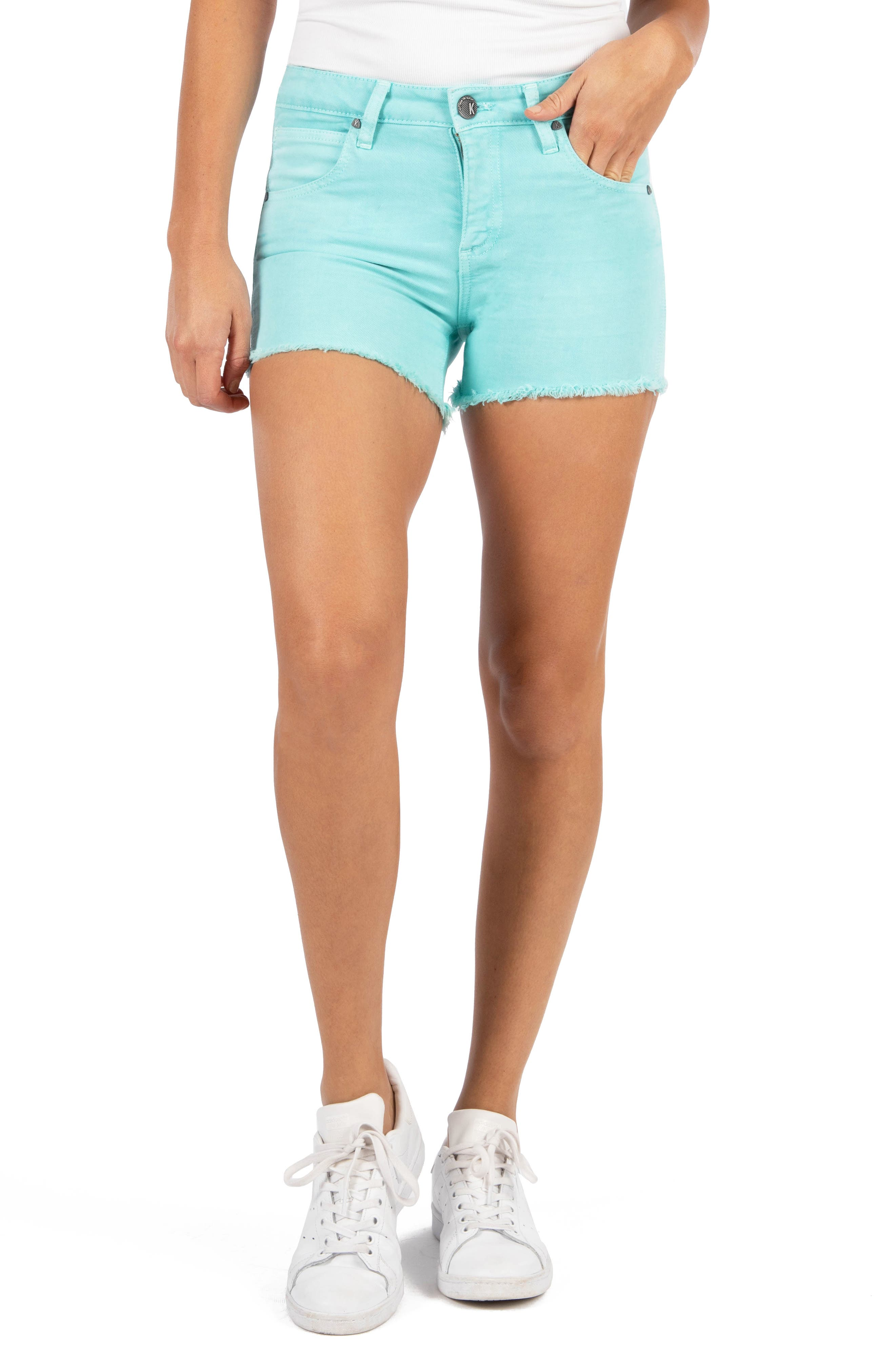 Fresh color adds to the must-have charm of these frayed-hem shorts cut from stretch-cotton denim. Style Name: Kut From The Kloth Gidget Fray Hem Shorts (Sea Green). Style Number: 6018147. Available in stores.