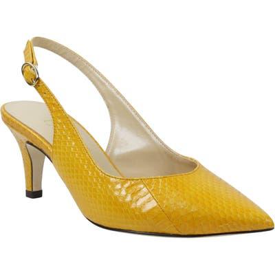 J. Renee Brisha Snake Embossed Slingback Pump, Yellow
