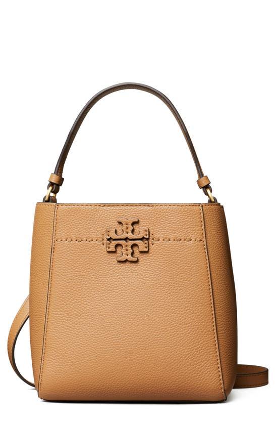 Tory Burch Mcgraw Small Leather Bucket Bag In Tiramisu