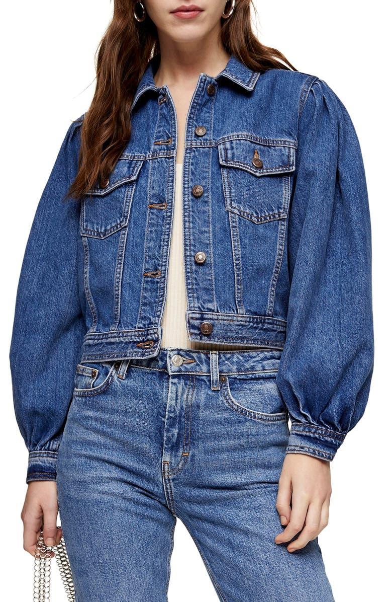 TOPSHOP Tilda Denim Jacket, Main, color, MID BLUE