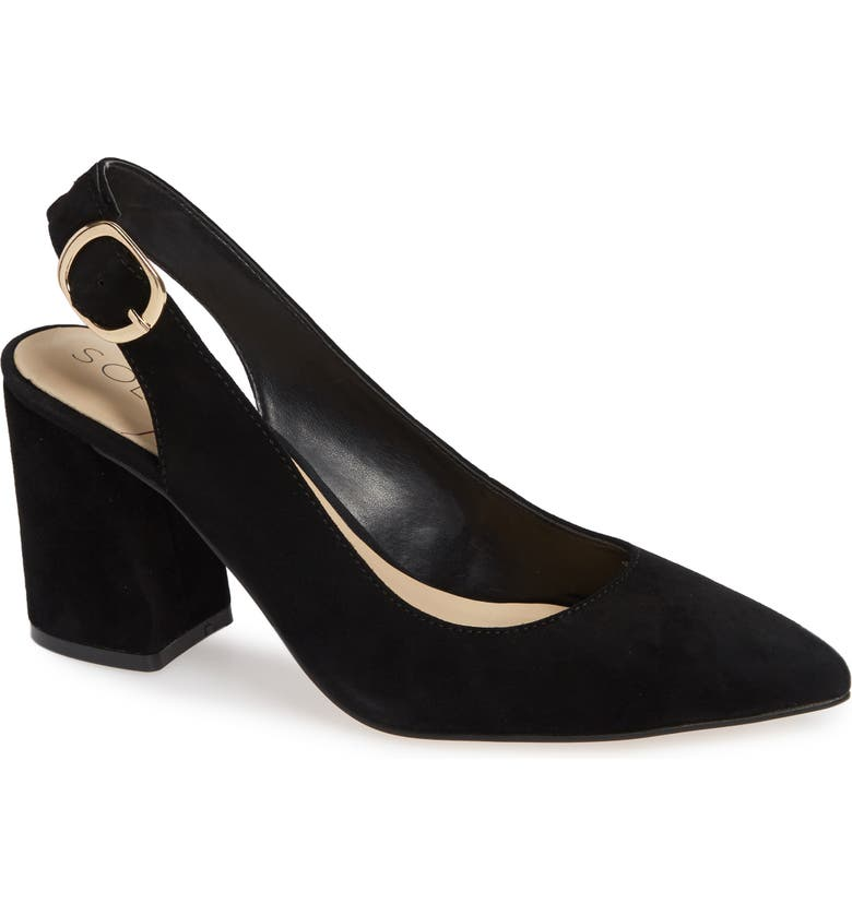 SOLE SOCIETY Trudie Slingback Pump, Main, color, BLACK SUEDE