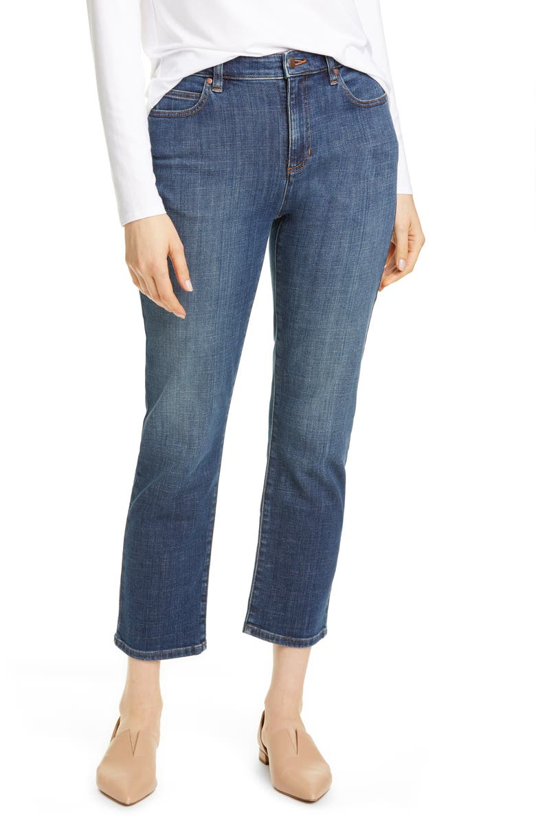 EILEEN FISHER High Waist Ankle Jeans, Main, color, AGED INDIGO